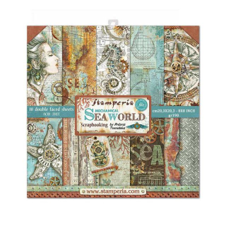 Stamperia 8x8 Inch Paper Pack Mechanical Sea World