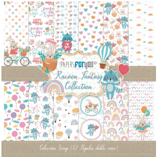 12x12 Inch Scrapbooking Paper Pack Racoon Fantasy