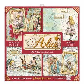 Stamperia 12x12 Inch Paper Pack Alice Gold