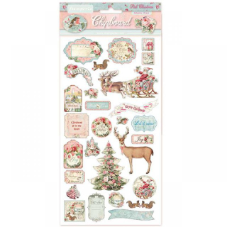Stamperia Chipboard 15x30 cm Pink Christmas